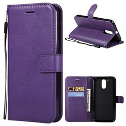 Retro Greek Classic Smooth PU Leather Wallet Phone Case for Motorola Moto G4 G4 Plus - Purple