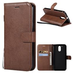 Retro Greek Classic Smooth PU Leather Wallet Phone Case for Motorola Moto G4 G4 Plus - Brown