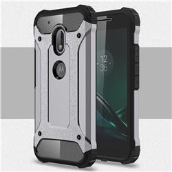King Kong Armor Premium Shockproof Dual Layer Rugged Hard Cover for Motorola Moto G4 Play - Silver Grey