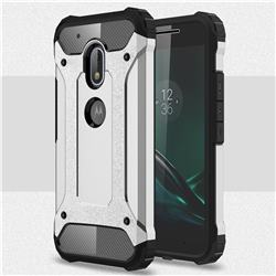 King Kong Armor Premium Shockproof Dual Layer Rugged Hard Cover for Motorola Moto G4 Play - Technology Silver