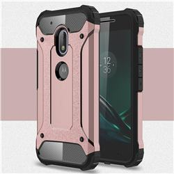 King Kong Armor Premium Shockproof Dual Layer Rugged Hard Cover for Motorola Moto G4 Play - Rose Gold