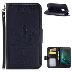 Intricate Embossing Maple Leather Wallet Case for Motorola Moto G4 Play - Black