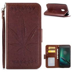 Intricate Embossing Maple Leather Wallet Case for Motorola Moto G4 Play - Brown