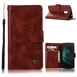 Luxury Retro Leather Wallet Case for Motorola Moto G4 Play - Wine Red