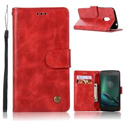 Luxury Retro Leather Wallet Case for Motorola Moto G4 Play - Red