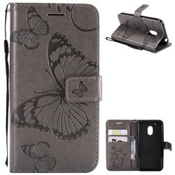 Embossing 3D Butterfly Leather Wallet Case for Motorola Moto G4 Play - Gray