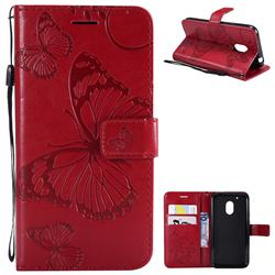Embossing 3D Butterfly Leather Wallet Case for Motorola Moto G4 Play - Red