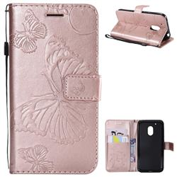 Embossing 3D Butterfly Leather Wallet Case for Motorola Moto G4 Play - Rose Gold