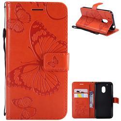 Embossing 3D Butterfly Leather Wallet Case for Motorola Moto G4 Play - Orange
