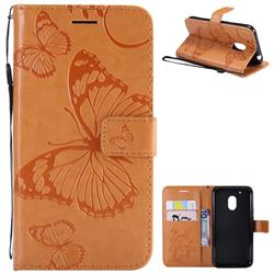 Embossing 3D Butterfly Leather Wallet Case for Motorola Moto G4 Play - Yellow