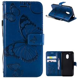 Embossing 3D Butterfly Leather Wallet Case for Motorola Moto G4 Play - Blue