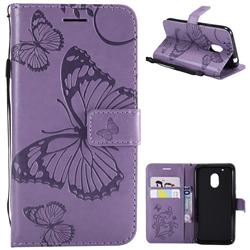 Embossing 3D Butterfly Leather Wallet Case for Motorola Moto G4 Play - Purple
