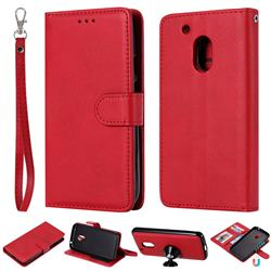 Retro Greek Detachable Magnetic PU Leather Wallet Phone Case for Motorola Moto G4 Play - Red