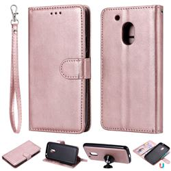 Retro Greek Detachable Magnetic PU Leather Wallet Phone Case for Motorola Moto G4 Play - Rose Gold
