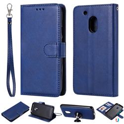 Retro Greek Detachable Magnetic PU Leather Wallet Phone Case for Motorola Moto G4 Play - Blue