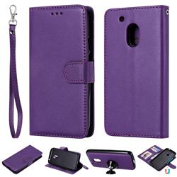 Retro Greek Detachable Magnetic PU Leather Wallet Phone Case for Motorola Moto G4 Play - Purple