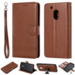 Retro Greek Detachable Magnetic PU Leather Wallet Phone Case for Motorola Moto G4 Play - Brown