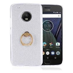 Luxury Soft TPU Glitter Back Ring Cover with 360 Rotate Finger Holder Buckle for Motorola Moto G5 - White