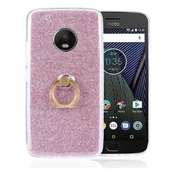 Luxury Soft TPU Glitter Back Ring Cover with 360 Rotate Finger Holder Buckle for Motorola Moto G5 - Pink