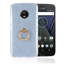 Luxury Soft TPU Glitter Back Ring Cover with 360 Rotate Finger Holder Buckle for Motorola Moto G5 - Blue