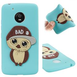 Bad Boy Owl Soft 3D Silicone Case for Motorola Moto G5 - Sky Blue