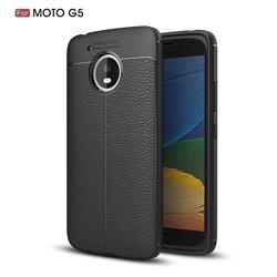 Luxury Auto Focus Litchi Texture Silicone TPU Back Cover for Motorola Moto G5 - Black