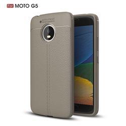 Luxury Auto Focus Litchi Texture Silicone TPU Back Cover for Motorola Moto G5 - Gray