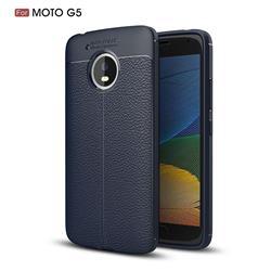Luxury Auto Focus Litchi Texture Silicone TPU Back Cover for Motorola Moto G5 - Dark Blue