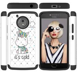 Tiny Unicorn Studded Rhinestone Bling Diamond Shock Absorbing Hybrid Defender Rugged Phone Case Cover for Motorola Moto G5