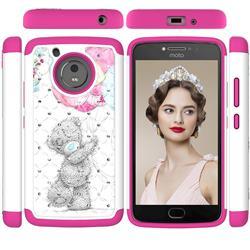 Gray Bear Studded Rhinestone Bling Diamond Shock Absorbing Hybrid Defender Rugged Phone Case Cover for Motorola Moto G5