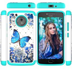 Flower Butterfly Studded Rhinestone Bling Diamond Shock Absorbing Hybrid Defender Rugged Phone Case Cover for Motorola Moto G5