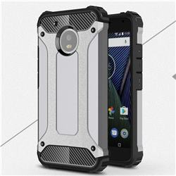 King Kong Armor Premium Shockproof Dual Layer Rugged Hard Cover for Motorola Moto G5 - Silver Grey