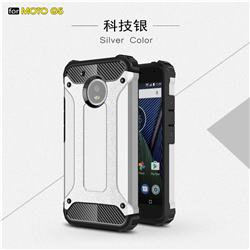 King Kong Armor Premium Shockproof Dual Layer Rugged Hard Cover for Motorola Moto G5 - Technology Silver