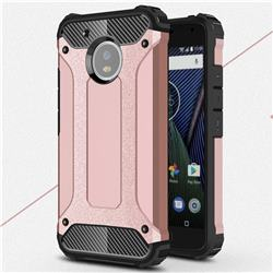 King Kong Armor Premium Shockproof Dual Layer Rugged Hard Cover for Motorola Moto G5 - Rose Gold