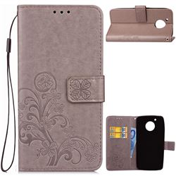 Embossing Imprint Four-Leaf Clover Leather Wallet Case for Motorola Moto G5 - Grey