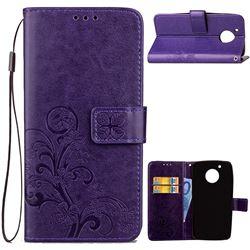 Embossing Imprint Four-Leaf Clover Leather Wallet Case for Motorola Moto G5 - Purple
