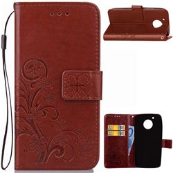 Embossing Imprint Four-Leaf Clover Leather Wallet Case for Motorola Moto G5 - Brown