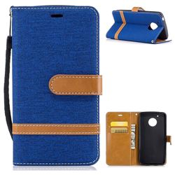 Jeans Cowboy Denim Leather Wallet Case for Motorola Moto G5 - Sapphire
