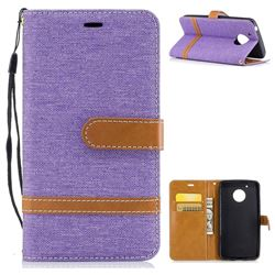 Jeans Cowboy Denim Leather Wallet Case for Motorola Moto G5 - Purple