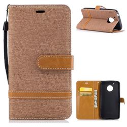 Jeans Cowboy Denim Leather Wallet Case for Motorola Moto G5 - Brown