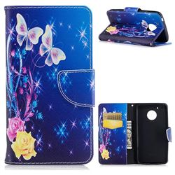 Yellow Flower Butterfly Leather Wallet Case for Motorola Moto G5