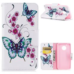 Peach Butterflies Leather Wallet Case for Motorola Moto G5