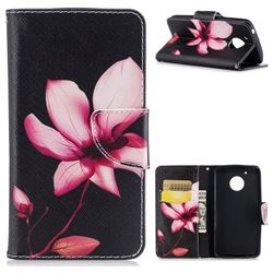 Lotus Flower Leather Wallet Case for Motorola Moto G5