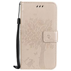 Embossing Butterfly Tree Leather Wallet Case for Motorola Moto G5 - Champagne