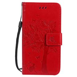 Embossing Butterfly Tree Leather Wallet Case for Motorola Moto G5 - Red