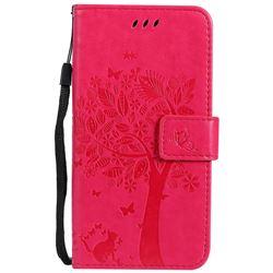 Embossing Butterfly Tree Leather Wallet Case for Motorola Moto G5 - Rose