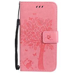 Embossing Butterfly Tree Leather Wallet Case for Motorola Moto G5 - Pink