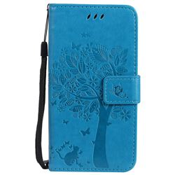 Embossing Butterfly Tree Leather Wallet Case for Motorola Moto G5 - Blue