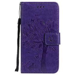 Embossing Butterfly Tree Leather Wallet Case for Motorola Moto G5 - Purple