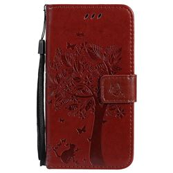 Embossing Butterfly Tree Leather Wallet Case for Motorola Moto G5 - Brown